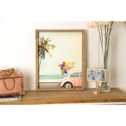 Vintage Beach Pink Volkswagen Beetle Wood Famed Art Print