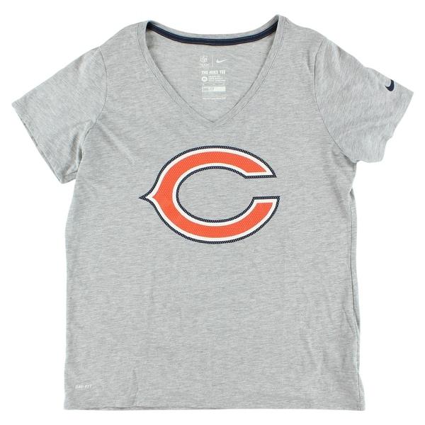 9855f700 Nike Womens Chicago Bears NFL Dri Fit V Neck T Shirt Heather Grey - heather  grey/orange/navy