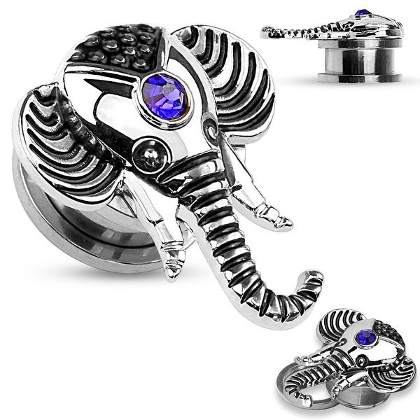 Sapphire Blue CZ Elephant Top Screw Fit Flesh Tunnel (Sold Ind.)