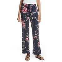 Joie Blue Women's Size Medium M Silk Drawstring Floral Print Pants