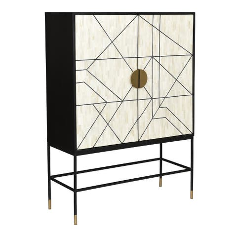 Aurelle Home Modern Solid Mango Wood and Iron Cabinet