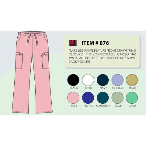 Women's Flare Leg Scrub Cargo Pants DSF Medical Uniform 876, Size 2XL