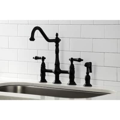 Heritage Bridge Kitchen Faucet with Brass Sprayer