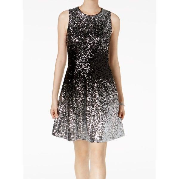 Shop Vince Camuto Silver Black Ombre Women s 14 Sequin A-Line Dress ... a8b4be02cb44