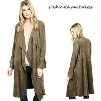 Olive Western Cowgirl Hippy Goth Faux Suede Leather Duster Jacket Coat