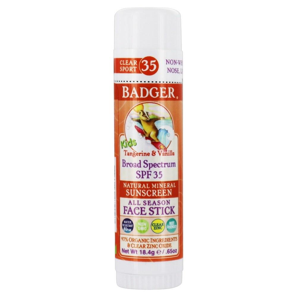 Badger - Clear Zinc Kids Mineral Sunscreen Face Stick 35 SPF - 0.65 (Facial Sunscreen - White)