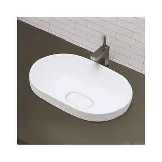 "DecoLav 1457 Primrose 23-3/8"" Oval Semi Recessed Vitreous China Lavatory Sink - ceramic white"