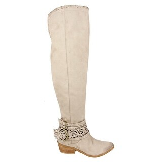 Not Rated Womens Beval Fabric Closed Toe Over Knee Riding Boots