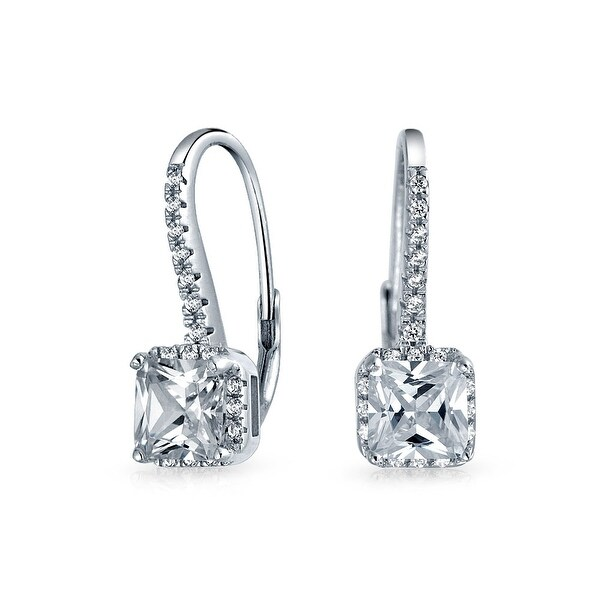 c5db6f4e8 Shop 3 CTW Solitaire Cubic Zirconia Princess Brilliant Cut Square Pave CZ  Drop Leverback Earrings For Women Sterling Silver - On Sale - Free Shipping  On ...