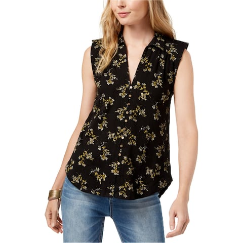Lucky Brand Womens Floral Sleeveless Blouse Top