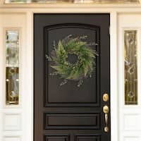 Pure Garden M150144 21 in. Artificial Fern Wreath with Grapevine Base
