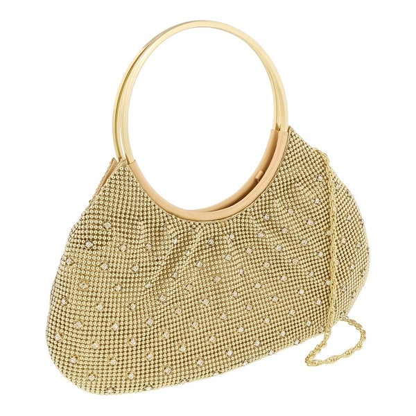 Scheilan Gold Metal Crystal Embellished Clutch - 12-5-1