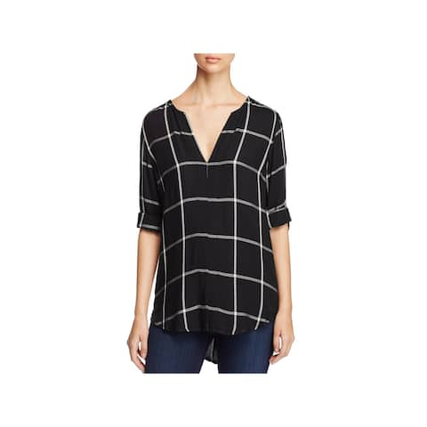 Side Stitch Womens Tunic Top Plaid Long Sleeves - S