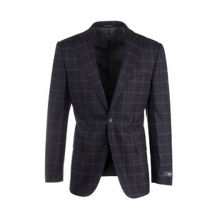 Dolcetto Black and Red Check with Light Blue Windowpane Modern Fit, Pure Wool Jacket by Canaletto Menswear 48068/2