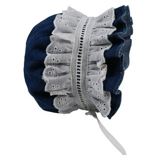 NICE CAPS Baby Girls Puffy Eyelet Bonnet With Elastic Back - DENIM