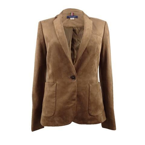 Tommy Hilfiger Women's One-Button Faux-Suede Blazer - Cognac