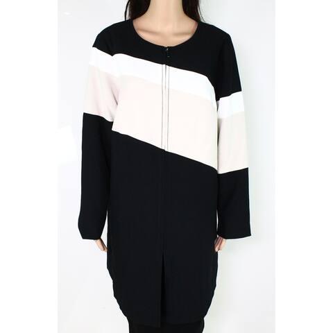Alfani Womens Jacket Plus Colorblocked A-Line Front-Zip