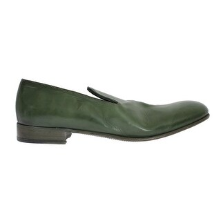 Dolce & Gabbana Green Leather Loafers Shoes - eu44-us11