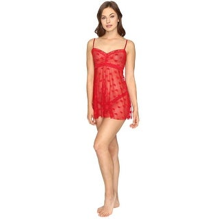 Hanky Panky Womens Red Tumbling Hearts Mesh Babydoll with G String Small S