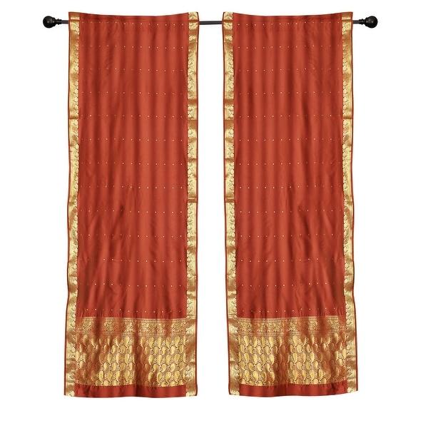 2 Boho Rust Indian Sari Curtains Rod Pocket Window Panels Drapes. Opens flyout.