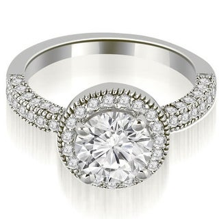 1.10 CT.TW Halo Round Cut Diamond Engagement Ring in 14KT White gold - White H-I