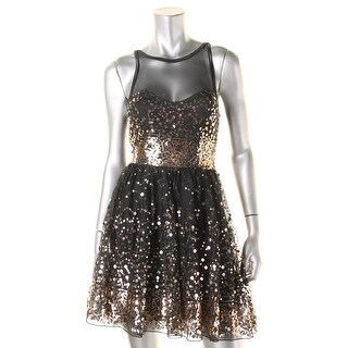 Crystal Doll Womens Juniors Semi-Formal Dress Sequined Mesh