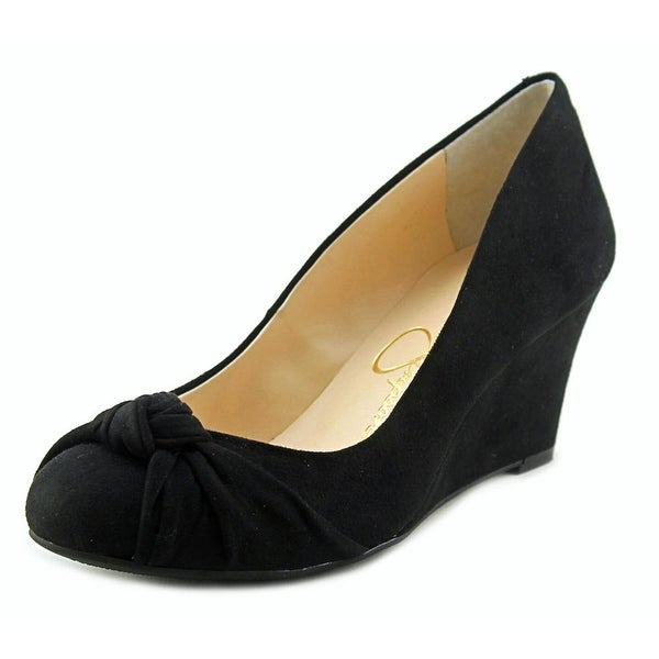 Jessica Simpson Siennah Women Open Toe Suede Black Wedge Heel