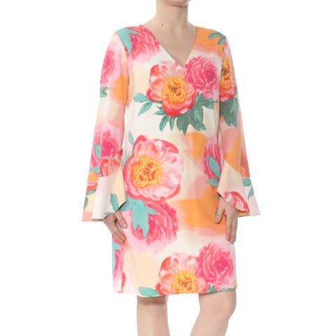 d07c4fc3 CALVIN KLEIN Womens Pink Floral Ruffled Bell Sleeve V Neck Above The Knee  Shift Dress Size