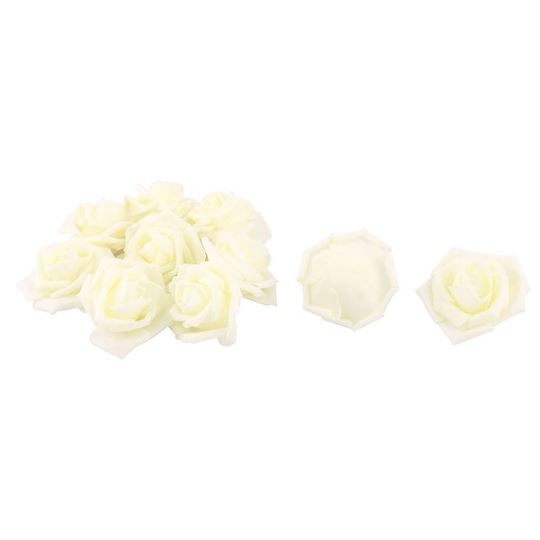 Women Handcraft Artificial Rose Flower Heads Buds Ornament Light Yellow 7cm Dia 10pcs