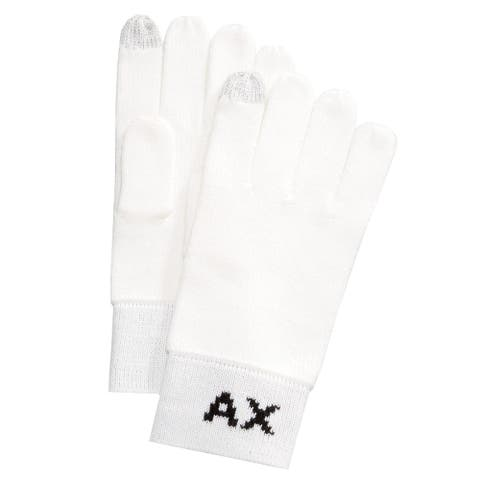 Armani Mens Letter Knit Gloves, white, Large