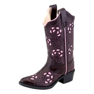 Old West Cowboy Boots Girls Inlay J Toe Flexible TPR Brown Pink