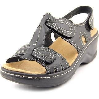Clarks Lexi Walnut Q Open Toe Leather Wedge Sandal