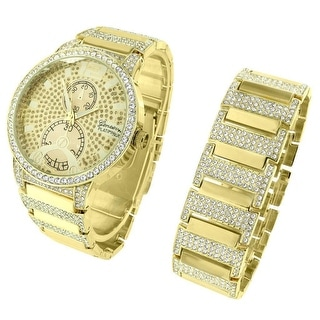 14k Gold Tone Watch Bracelet Hip Hop Men Full Iced Out Lab Diamond Custom