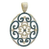 Prism Jewel 1.79Ct Blue Diamond & Diamond Unique Designer Pendant - White G-H