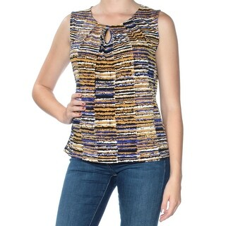 Womens Gold Printed Sleeveless Keyhole Top Size M