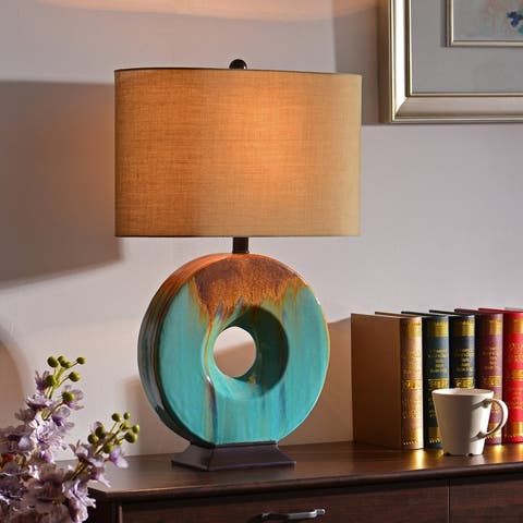 "Fenerty 26"" 3-Way Table Lamp - Teal Ceramic Glaze"