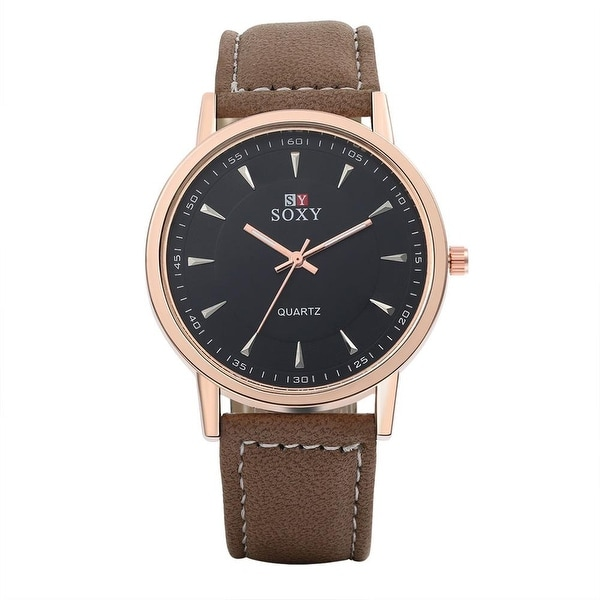 Modern & Classic Faux Brown Leather Watch- Black