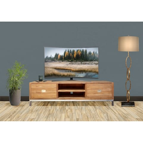 Chic Teak Recycled Teak Wood Stella Media Center with 2 Drawers