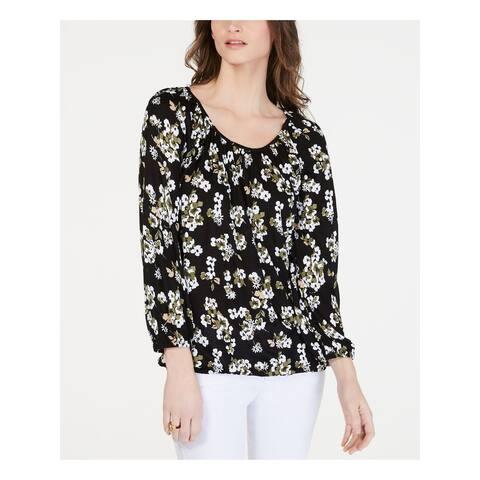 MICHAEL KORS Womens Black Floral 3/4 Sleeve Peasant Top Size S
