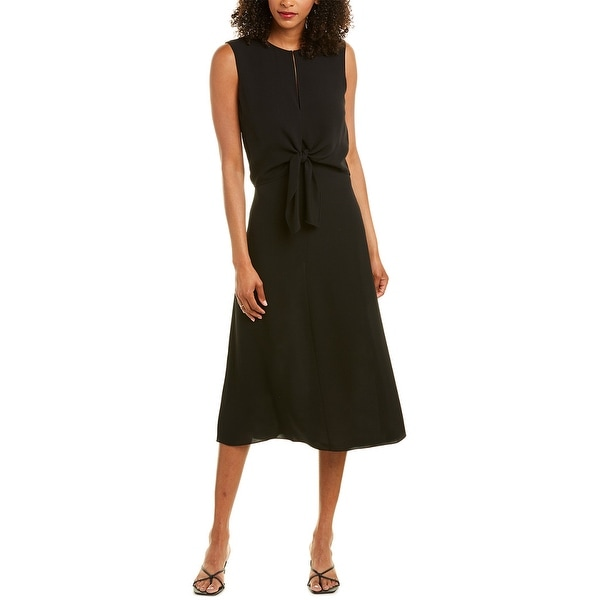 Theory Tie-Front Silk Midi Dress. Opens flyout.