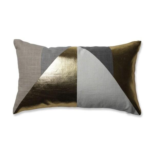 """18.5"""" Metallic Gold, Gray and Taupe Geometric Design Decorative Rectangular Throw Pillow - GOLD"""