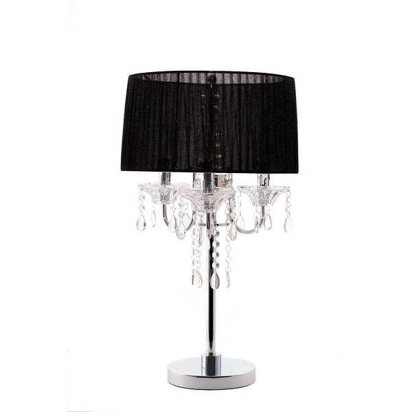 Noble 3 Light Crystal and Chrome Table Lamp Silk Shade Black