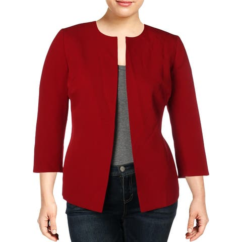 Anne Klein Womens Plus Jacket Crepe Open Front - 0X