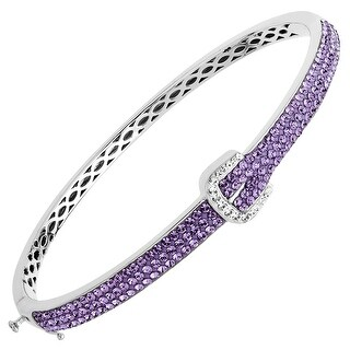 Crystaluxe Buckle Bangle with Purple & White Swarovksi Crystals in Sterling Silver