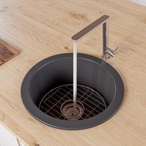 """Black Matte Round 18"""" x 18"""" Undermount / Drop In Fireclay Prep Sink"""