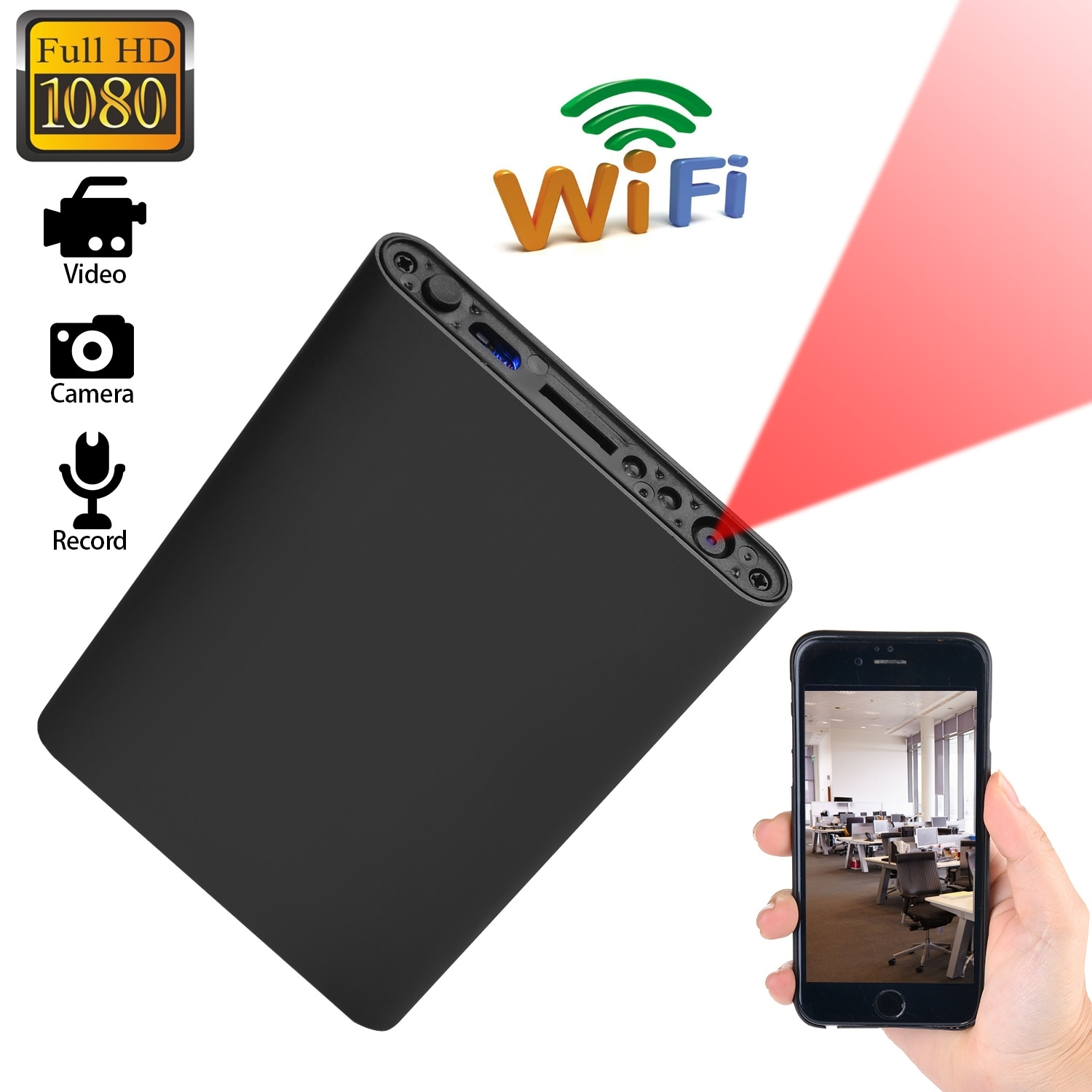 AGPtEK Mini WIFI 1080P HD Spy Hidden IP Camera Power Bank Wireless Video