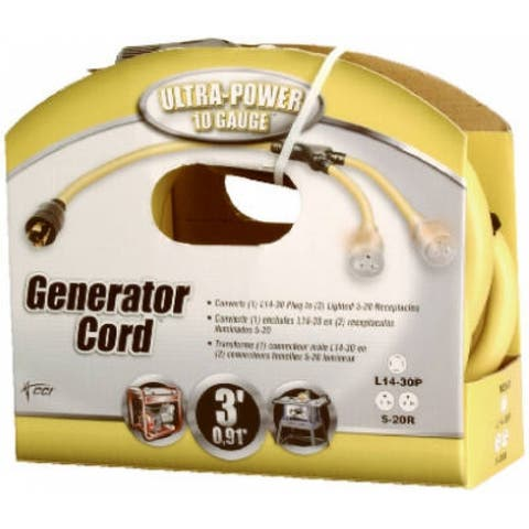 Coleman Cable 01934-88-02 Generator Cord and Adapter, 3'