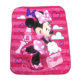 "Baby Girls Pink Minnie Travelling Style Print Royal Plush Blanket 40"" x 50"" - One size"