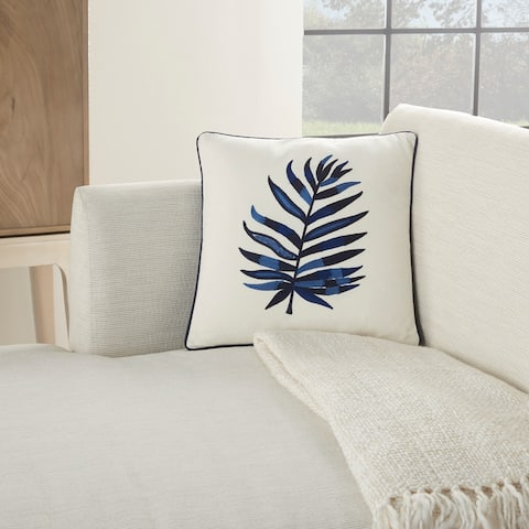 Mina Victory Royal Palm Indigo Throw Pillow
