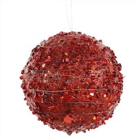 4 in. Red Sparkle Glitter And Sequin Kissing Christmas Ball Ornament